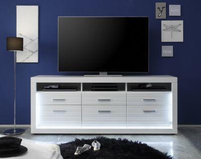 TV Unterteil Starlight weiß hochglanz Beleuchtung Lowboard