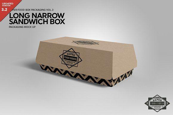 Download Hinged Long Sandwich Box Mockup Sandwich Box Mockup Psd Box Mockup
