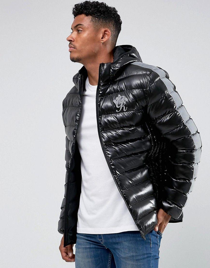Gym King Puffer Jacket In Black With Reflective Stripe Black Quilted Jacket Men Jackets Winter Jacket Men [ 1110 x 870 Pixel ]
