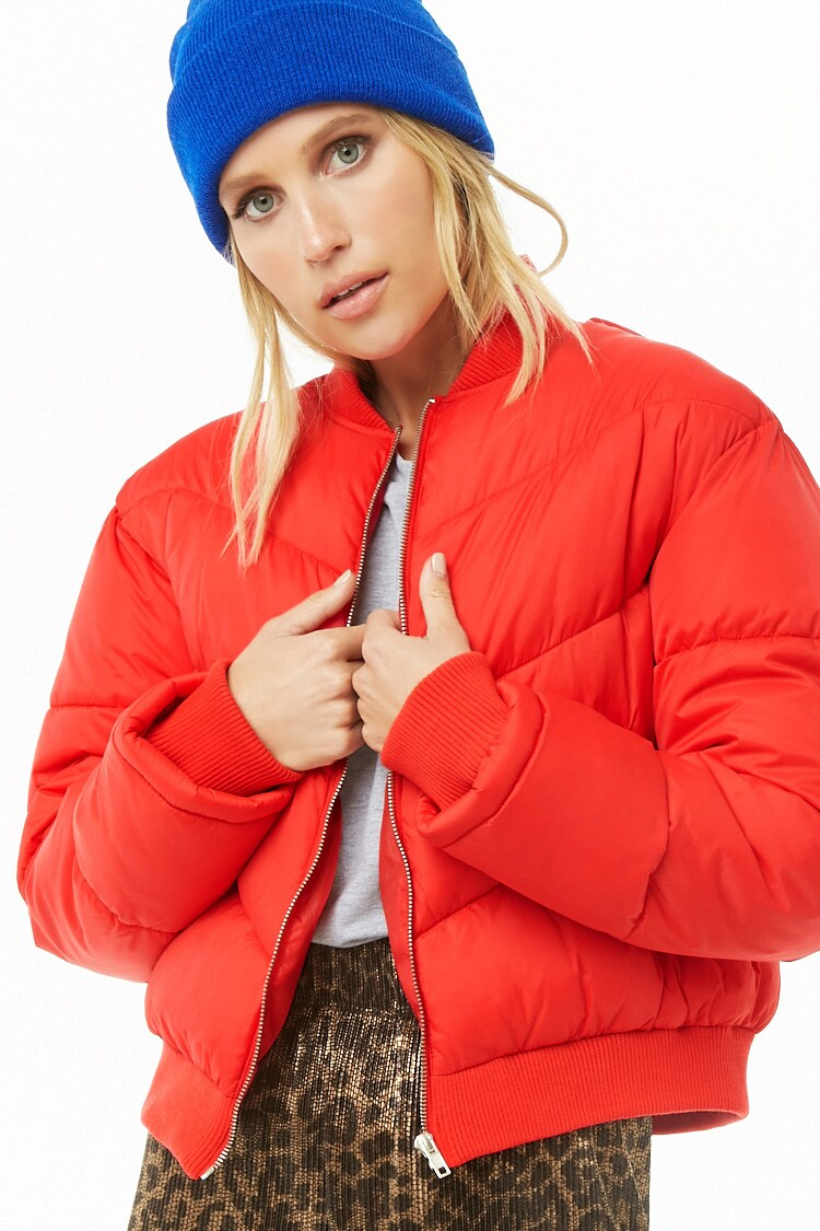 Zip Front Puffer Jacket Forever 21 Womens Clothing Tops Puffer Jackets Jackets [ 1125 x 750 Pixel ]