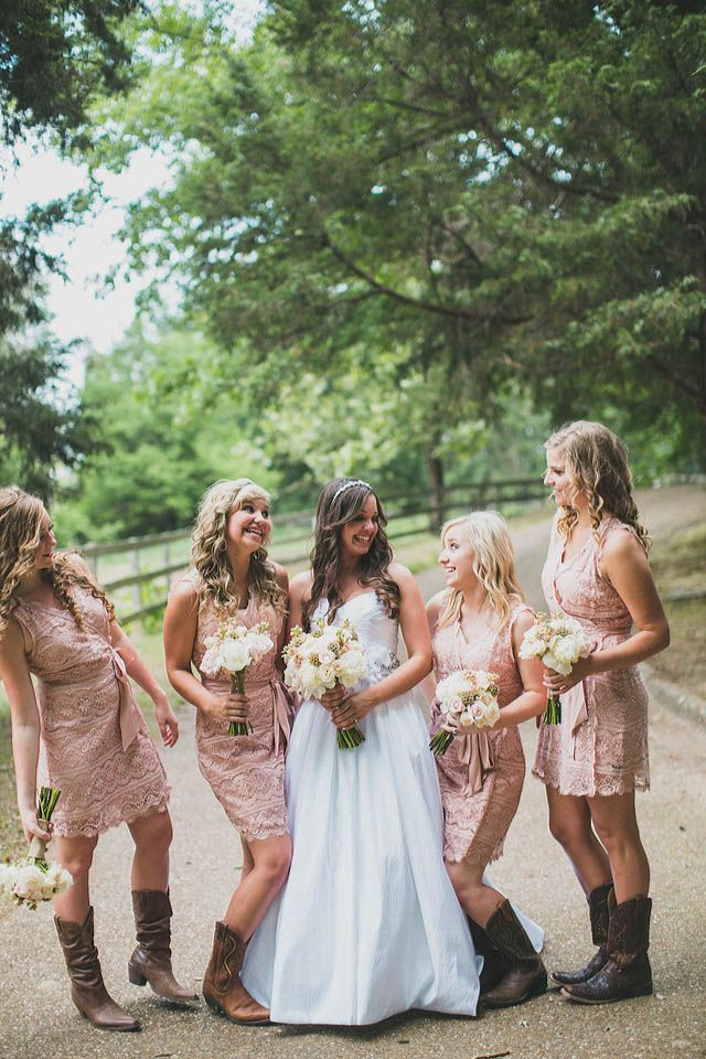 Blush pink bridesmaids dresses and cowboy boots image by for Wedding dress with boots