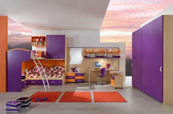 Lila bett trendy coole fr mdchen lila bett bunten teppich for Kinderbett dachschrage