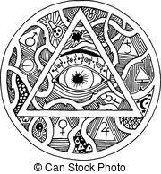 gravure, Voir, tout, pyramide, oeil, tatouage, Symbole,...