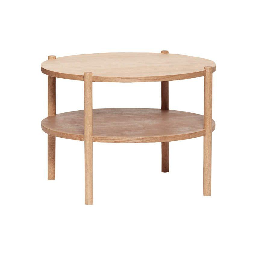 Tisch Couchtisch Aus Holz Eichenfurnier Runde Tischplatte Und Ablage In 2020 Wohnzimmertische Tisch Couchtisch Rund Holz