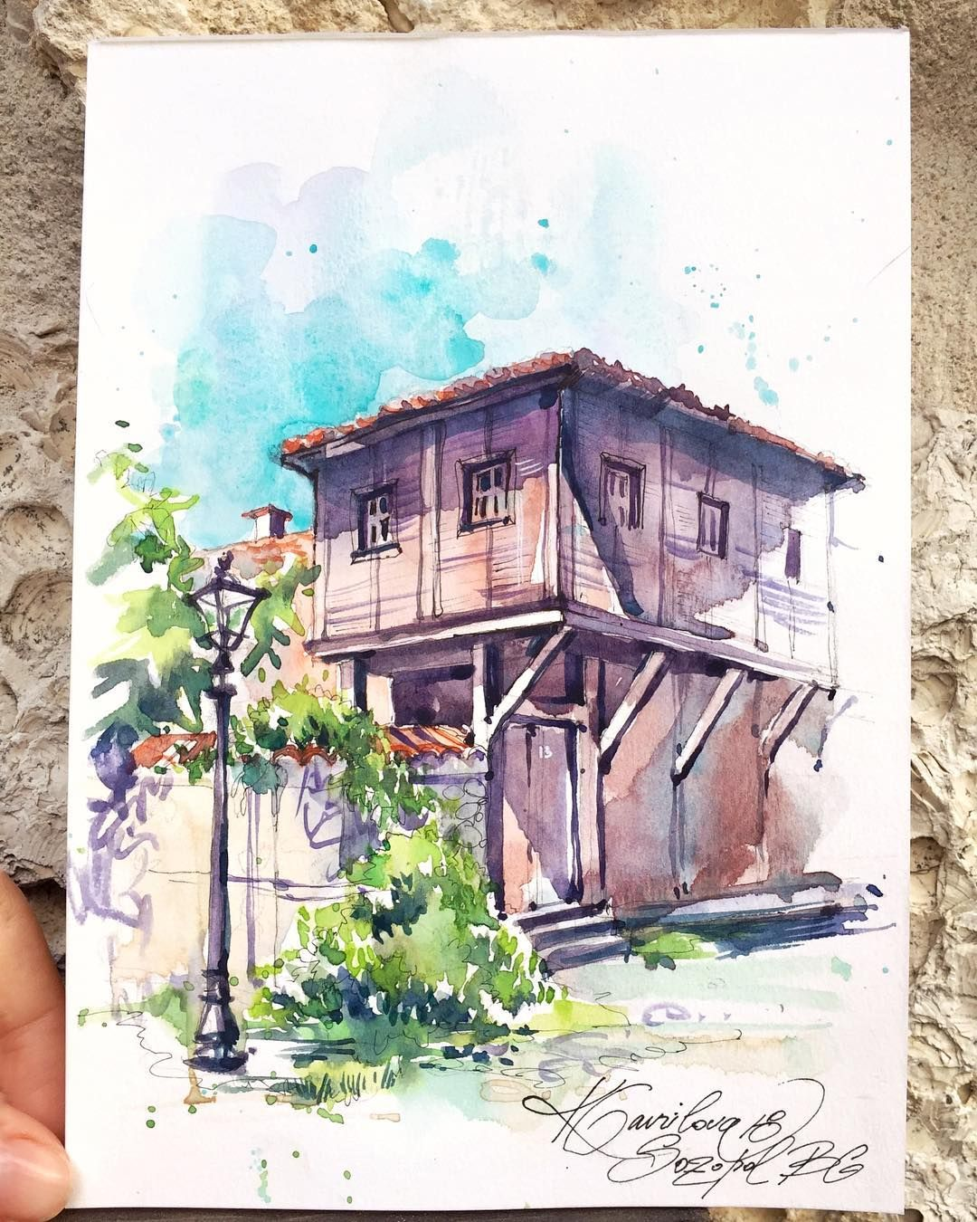 Watercolor Sketching On Instagram The Old House In Sozopol
