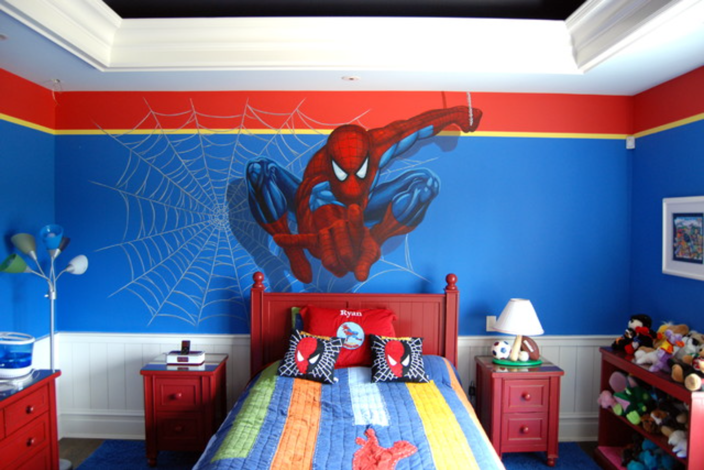 Spiderman mural in a Spiderman themed boys room. Perfection