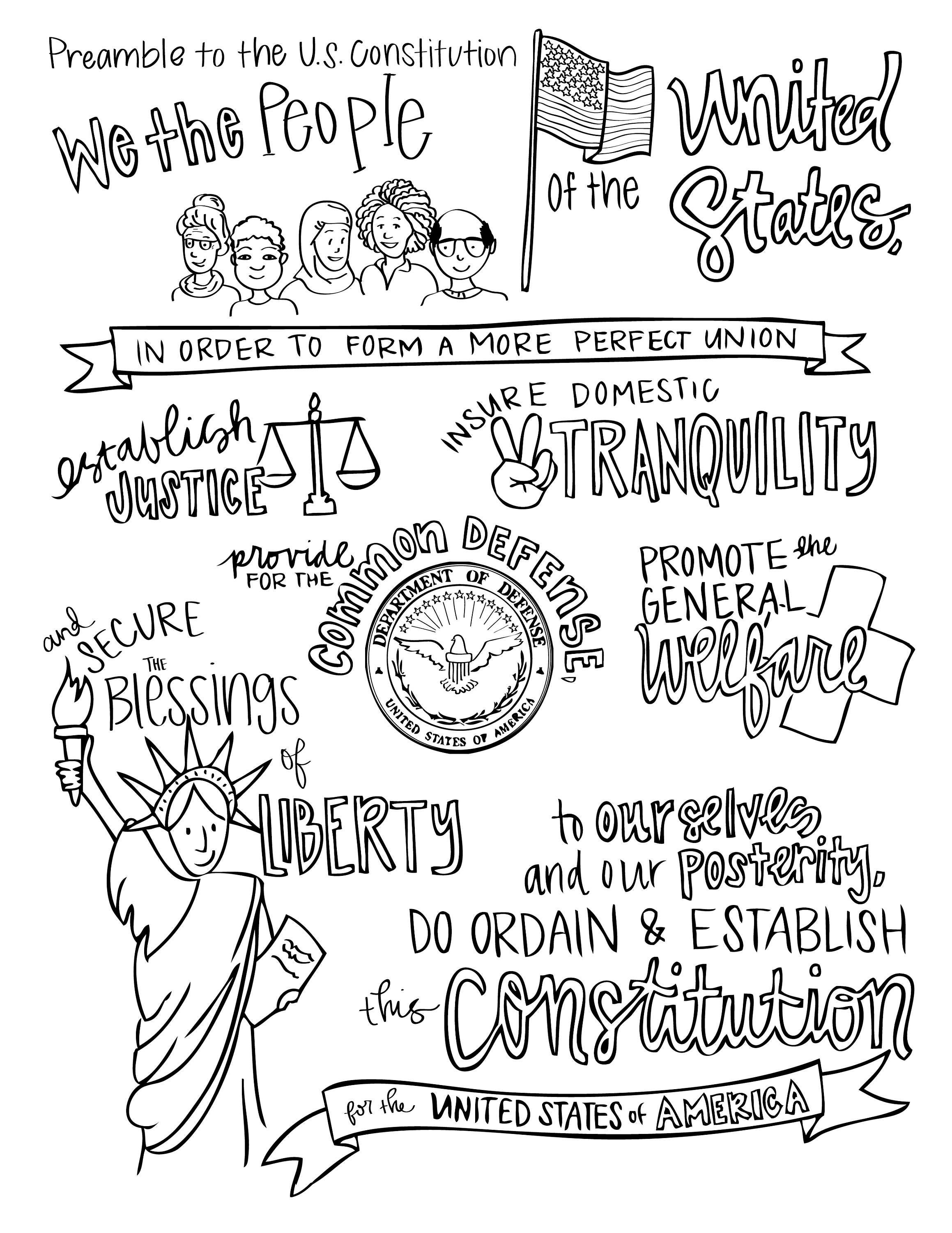 Color the Preamble and Bill of Rights   Etsy   Social studies notebook [ 3000 x 2318 Pixel ]