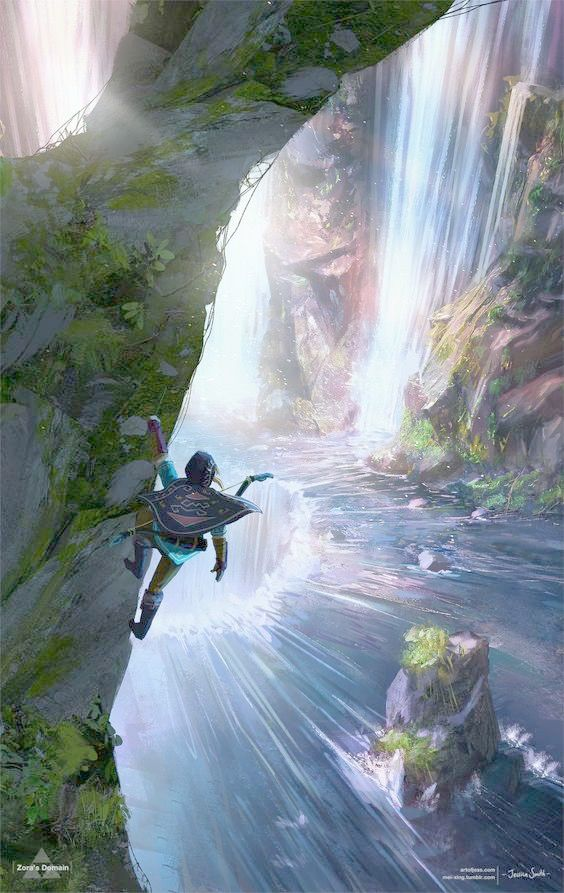Zora's Domain by Jessica Smith (artofjess.com and mei-xing.tumblr.com)   Breath of the Wild   I had to find one of her pictures on my computer and enlarge it so I could JUST FIND THE ARTIST