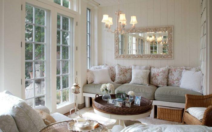 Kleines Wohnzimmer Einrichten Boho Stil Vintage Rattanmöbel Dekokissen