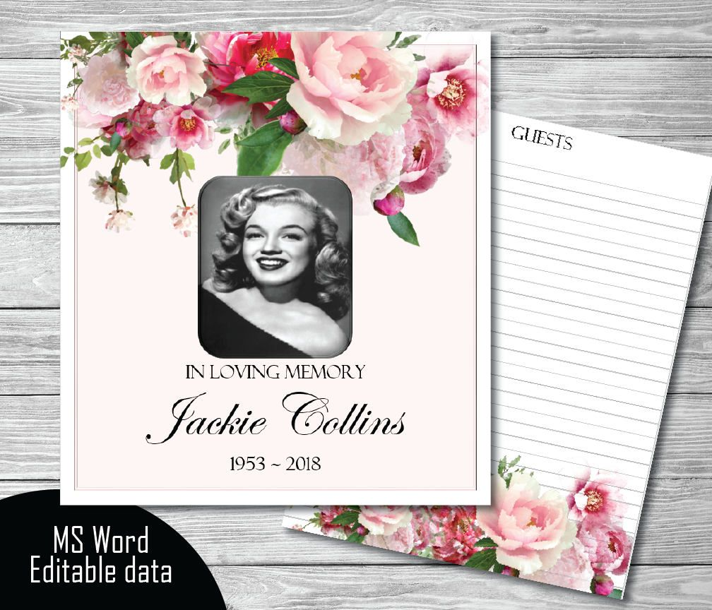 Pink Peony Guest Book Template  Diy Guest Book  Funeral
