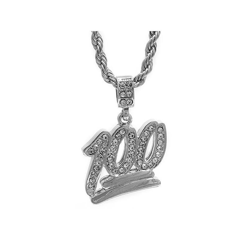 2ebf80d40a324 Men's Silver Plated Iced Out 100 Emoji Pendant 30
