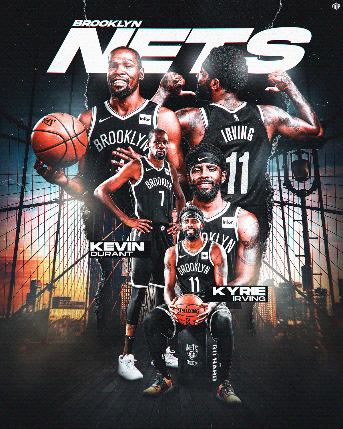 Brooklyn Media Day Graphic (Kyrie and KD) on Behance