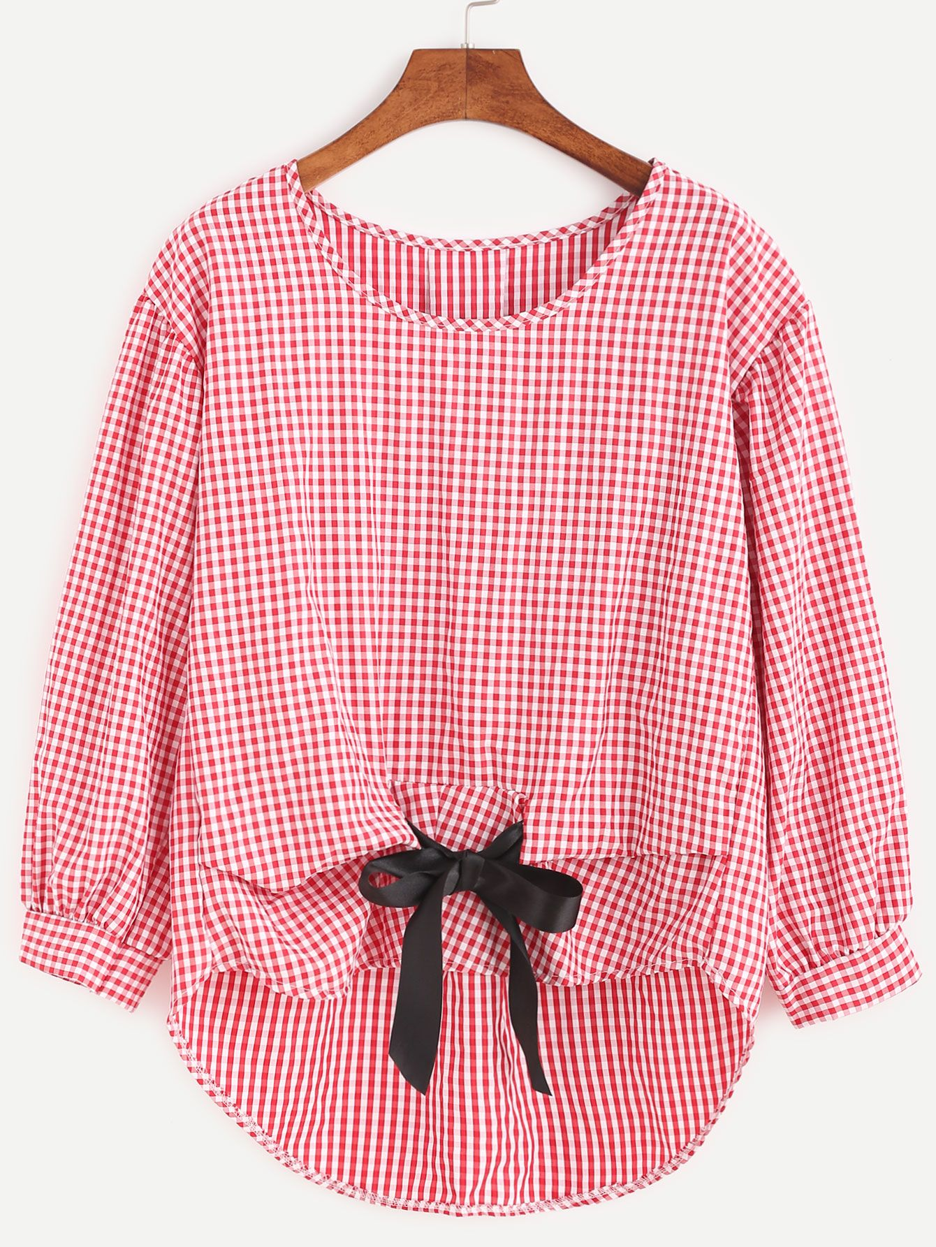 AdoreWe #SheIn Blouses - SheIn Gingham Plaid Bow Tie High Low Blouse ...