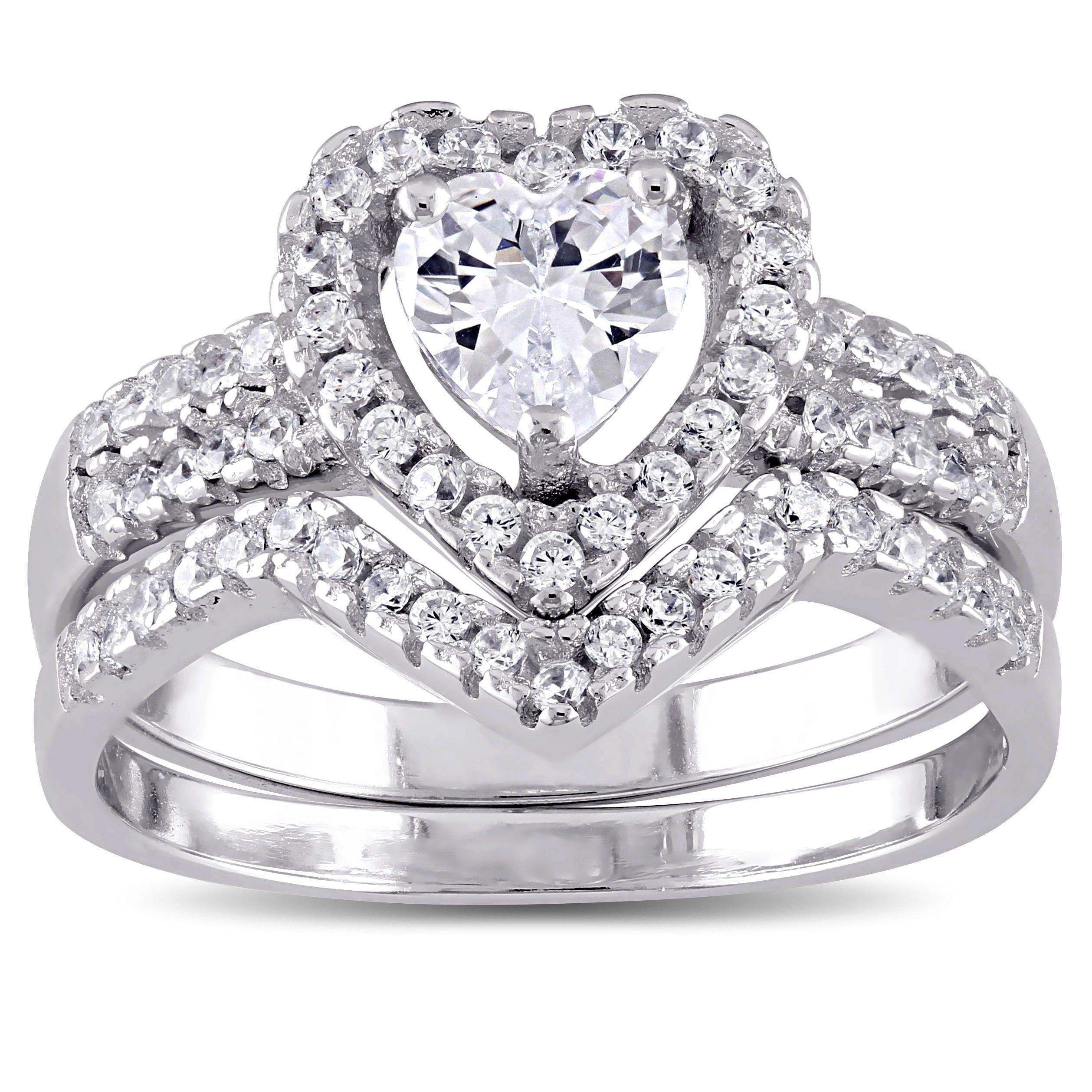Miadora Sterling Silver Cubic Zirconia Bridal Heart Halo
