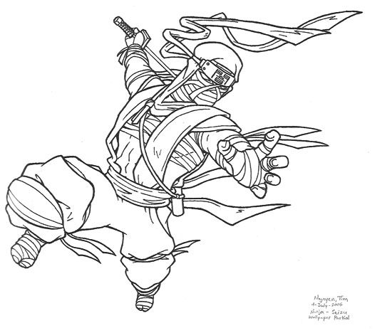 New Coloring Page awesome black and white images of ninjas: Cool ...