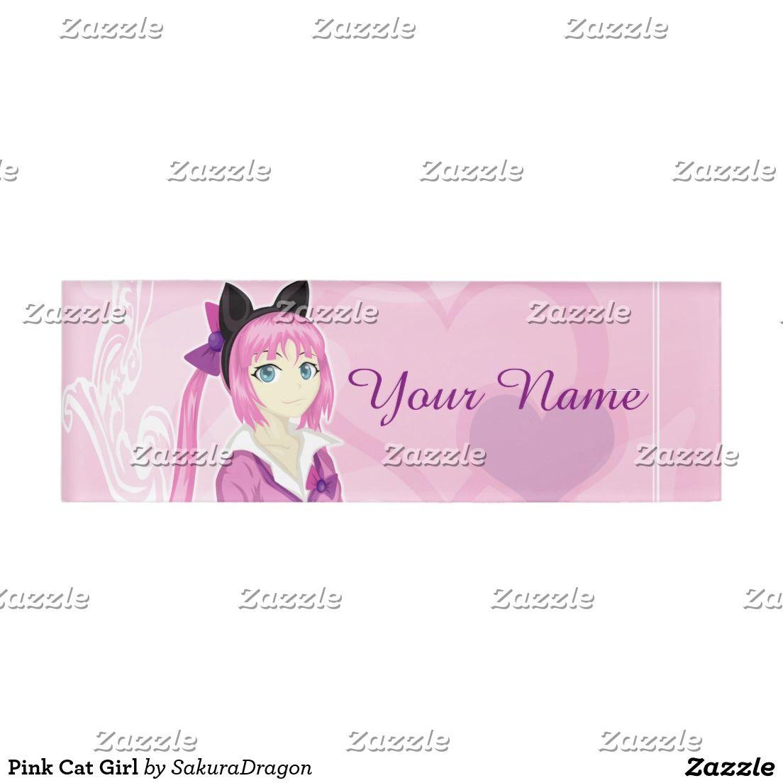 Pink Cat Girl Name Tag Zazzle Com Pink Cat Cat Girl Name Tags