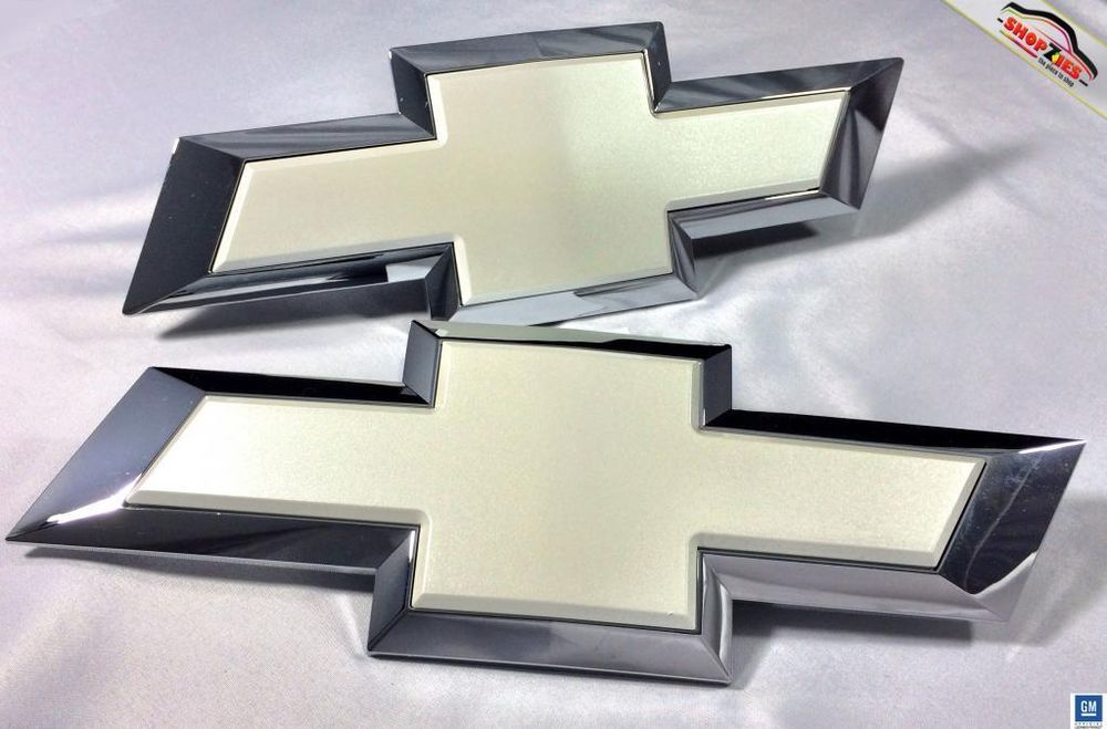 Chevy Silverado Bowtie Emblem Billet Insert Replacement 2pc Set White Diamond Chevy Silverado Silverado Chevy