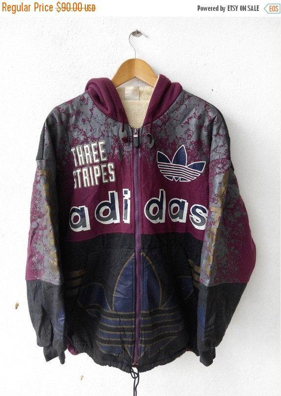 Vintage 1990s ADIDAS RUN DMC Big Logo Sweater Hooded Hip Hop