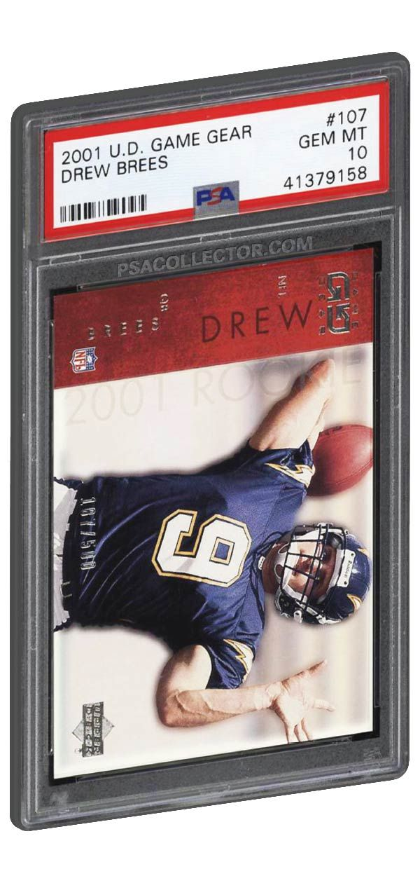 2001 Ud Game Gear Drew Brees Rookie Card Card 107 Psa Gem