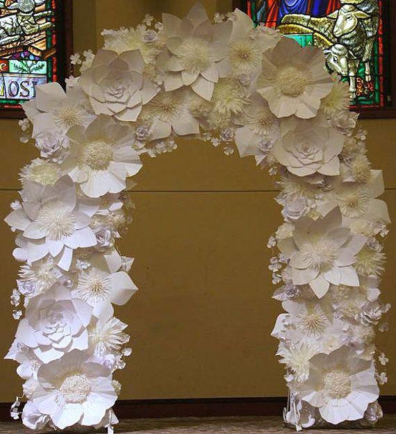 Wedding Flower Rentals: RENTAL Paper Flower Wedding Arch. White & Ivory Von
