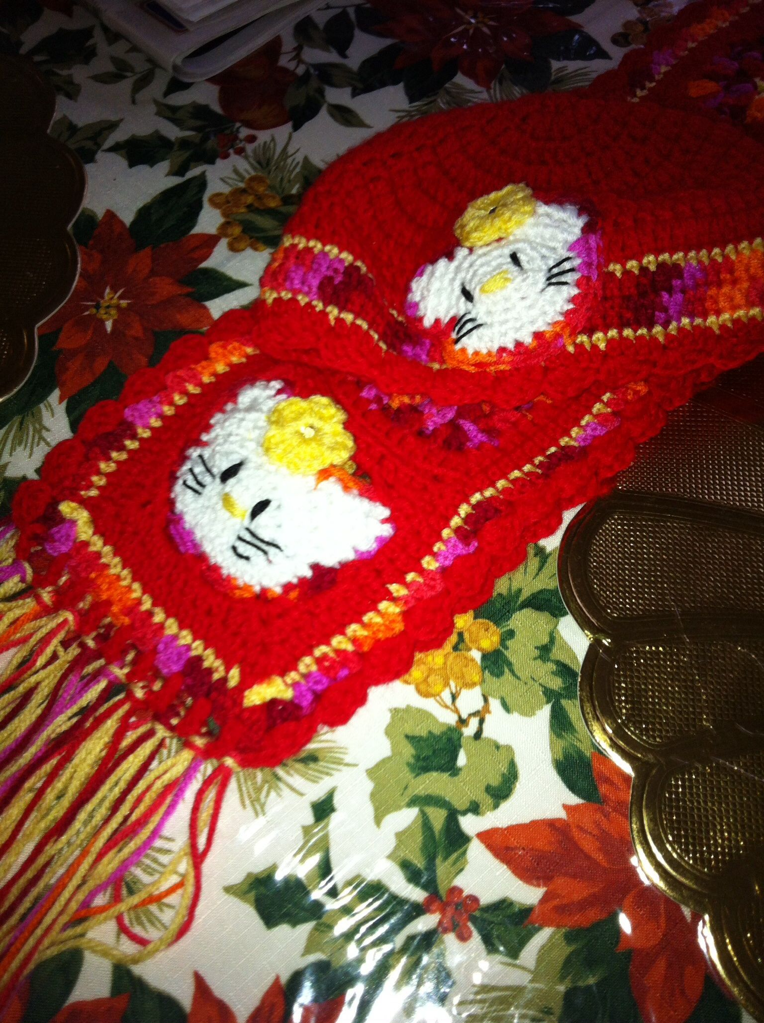 A childs hat and scarf set love crochet hat and scarf