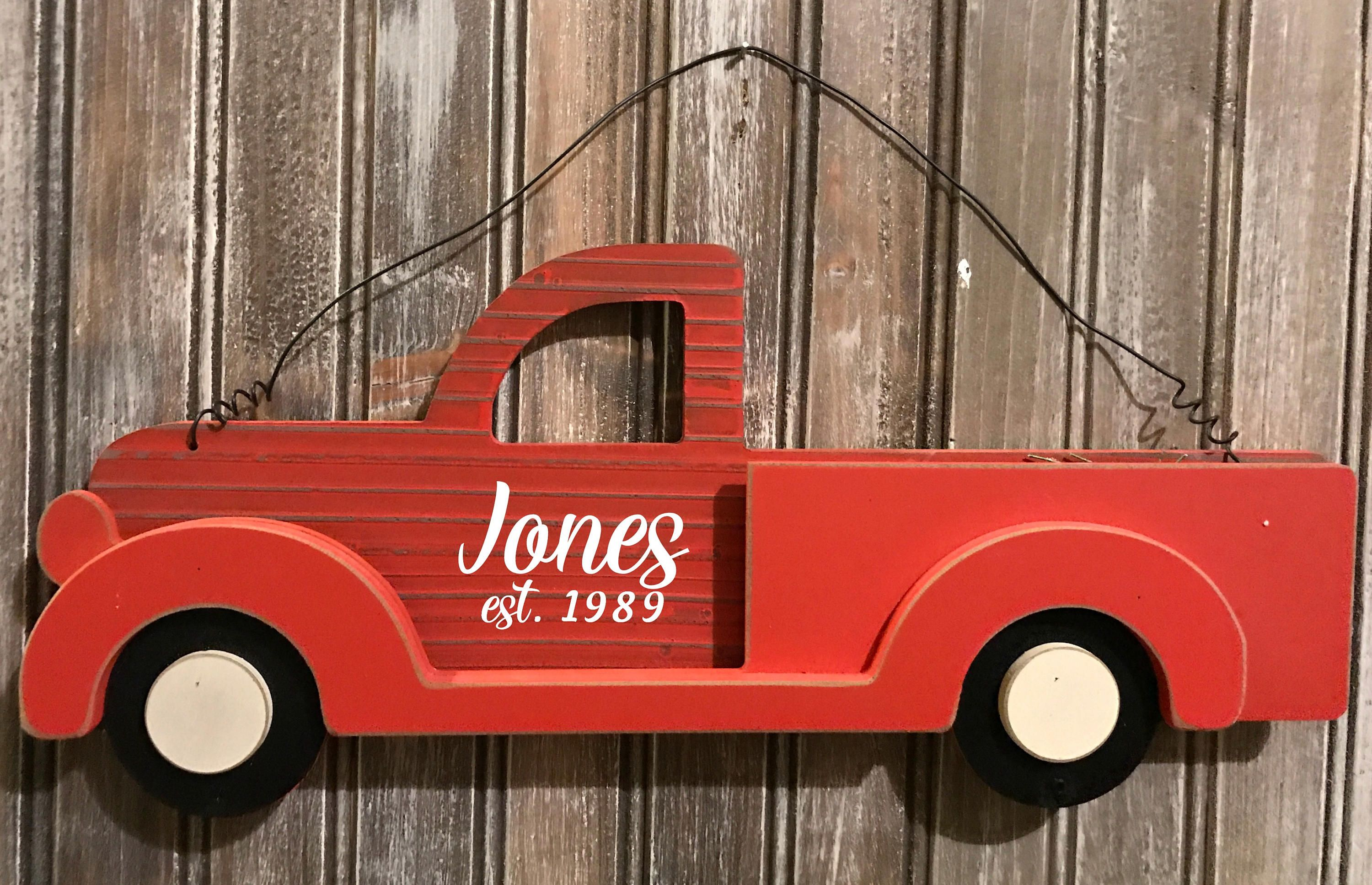 Farmhouse Red Truck Sign Red Truck Decor Little Red Truck Decor