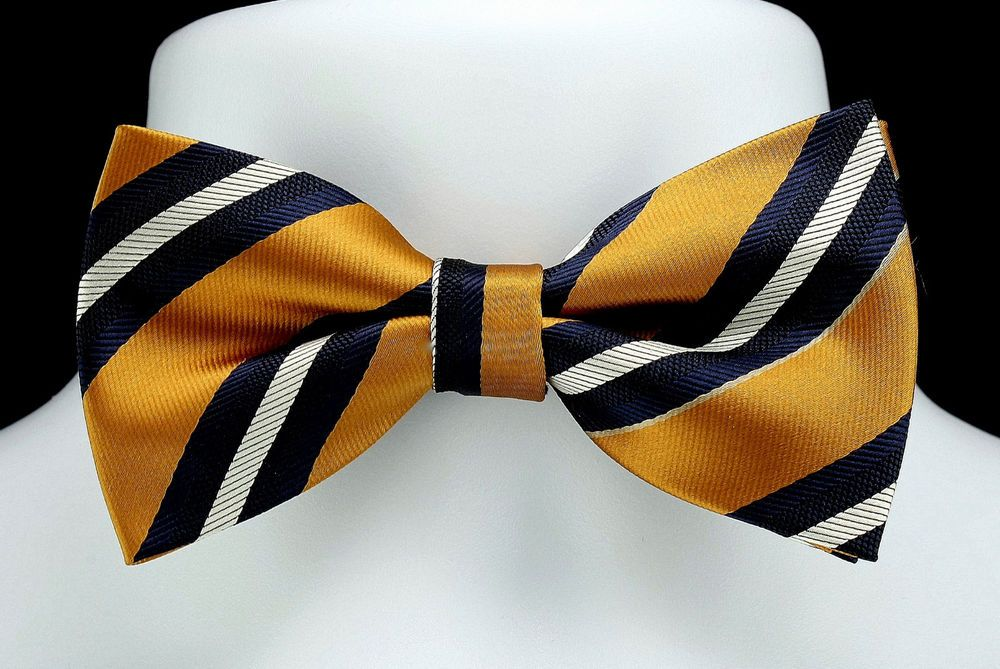 Classic Men Bowtie Set Wedding Silk Pretied BowTie Yellow Blue Stripe Adjustable