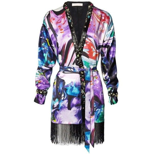 Matthew Williamson Marble Satin Embroidered Kimono Robe ($800) ❤ liked on Polyvore featuring intimates, robes, jackets, black, evening, bath robes, satin dressing gown, satin kimono, embroidered bath robe and satin kimono robe