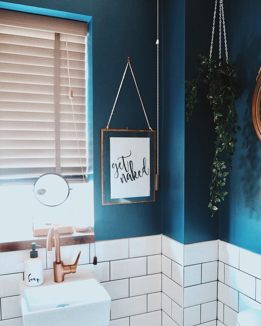 White Metro Tiles Combined With This Dark Green Wall Colour Is The