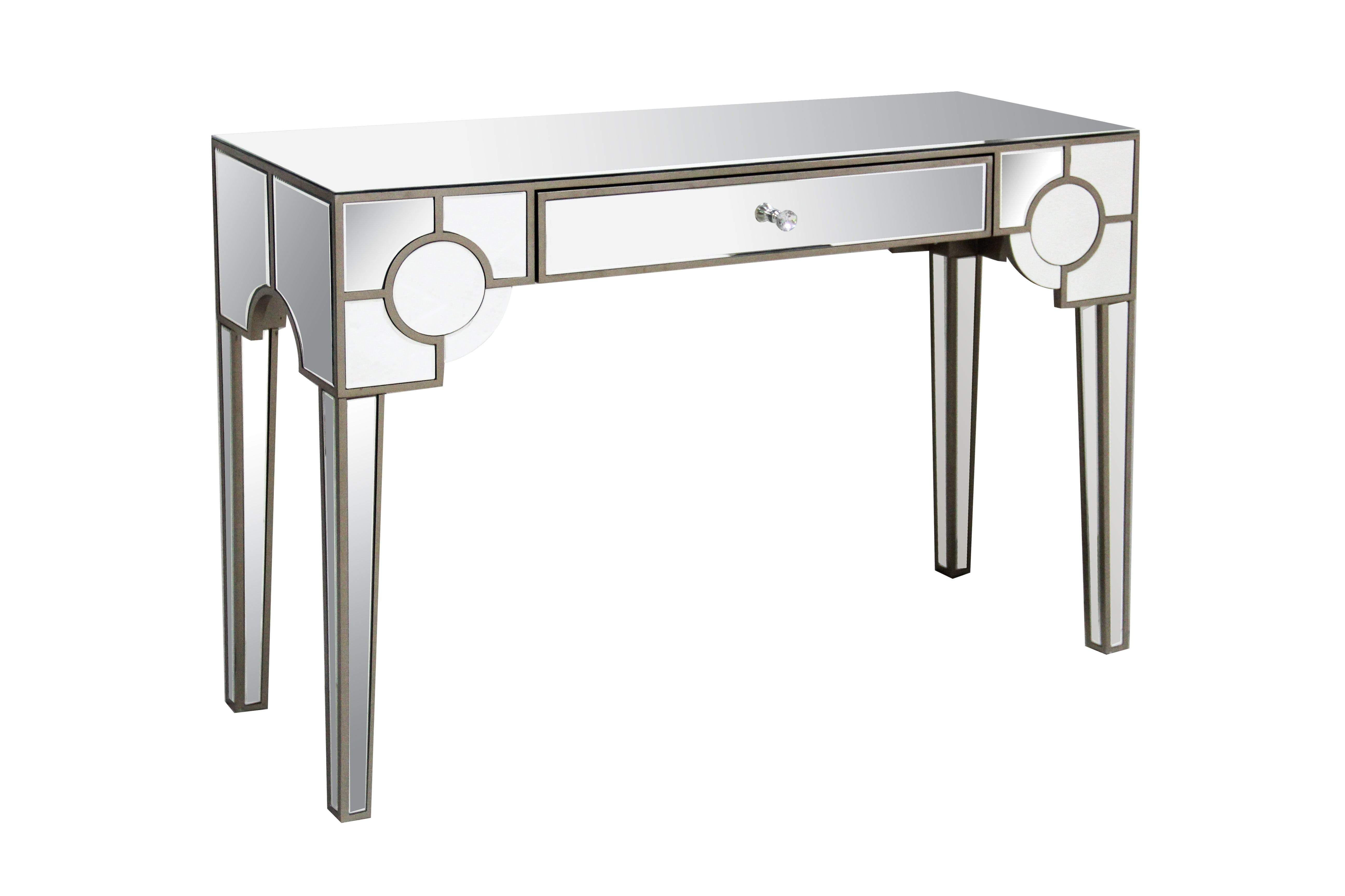 Mirrored Console Table With One Drawer Clear In 2020 Mirrored Console Table Mirror Console Console Table
