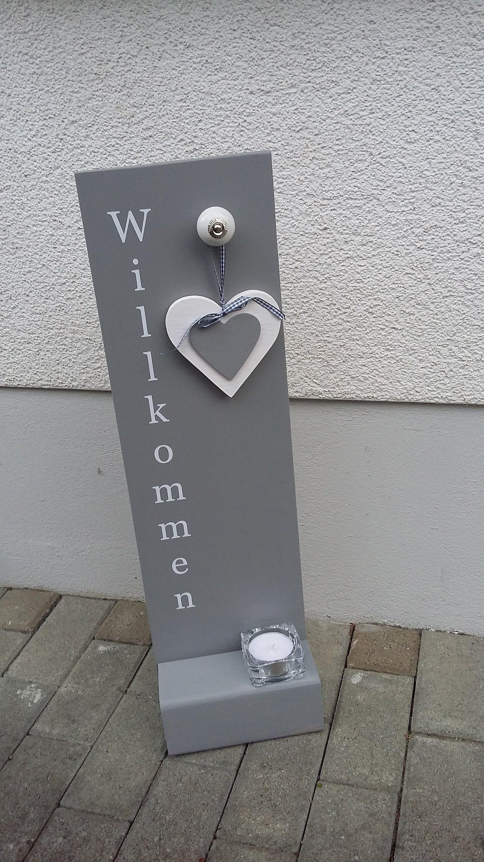 Holzschild Willkommen GRAU WEISS Etsy Holzschilder
