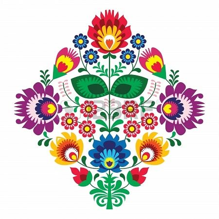 Folk embroidery with flowers - traditional polish pattern Stock Photo - 18622800