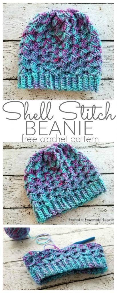Shell Stitch Beanie Crochet Pattern   Gorros, Tejido y Gorros de crochet