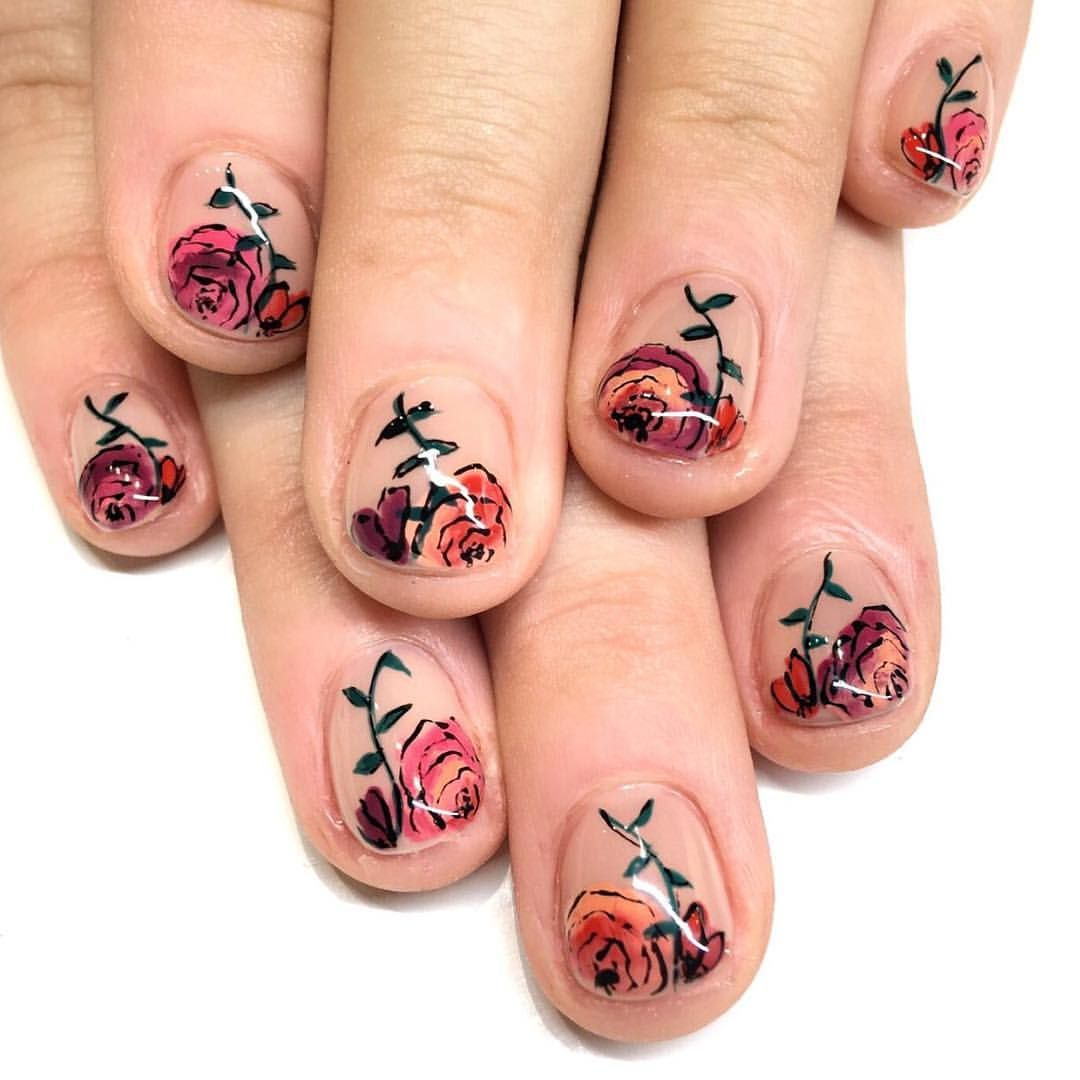 Floral Nail Art For The Winter The Theme For This Manicure Was A Hawaiian Vacation Flower Nail With A Winter Floral Nail Designs Floral Nail Art Floral Nails