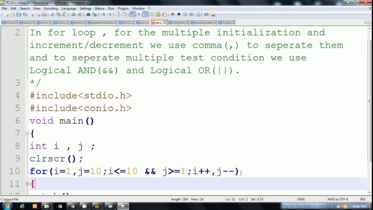C Language In Hindi Multiple Initialization Increment