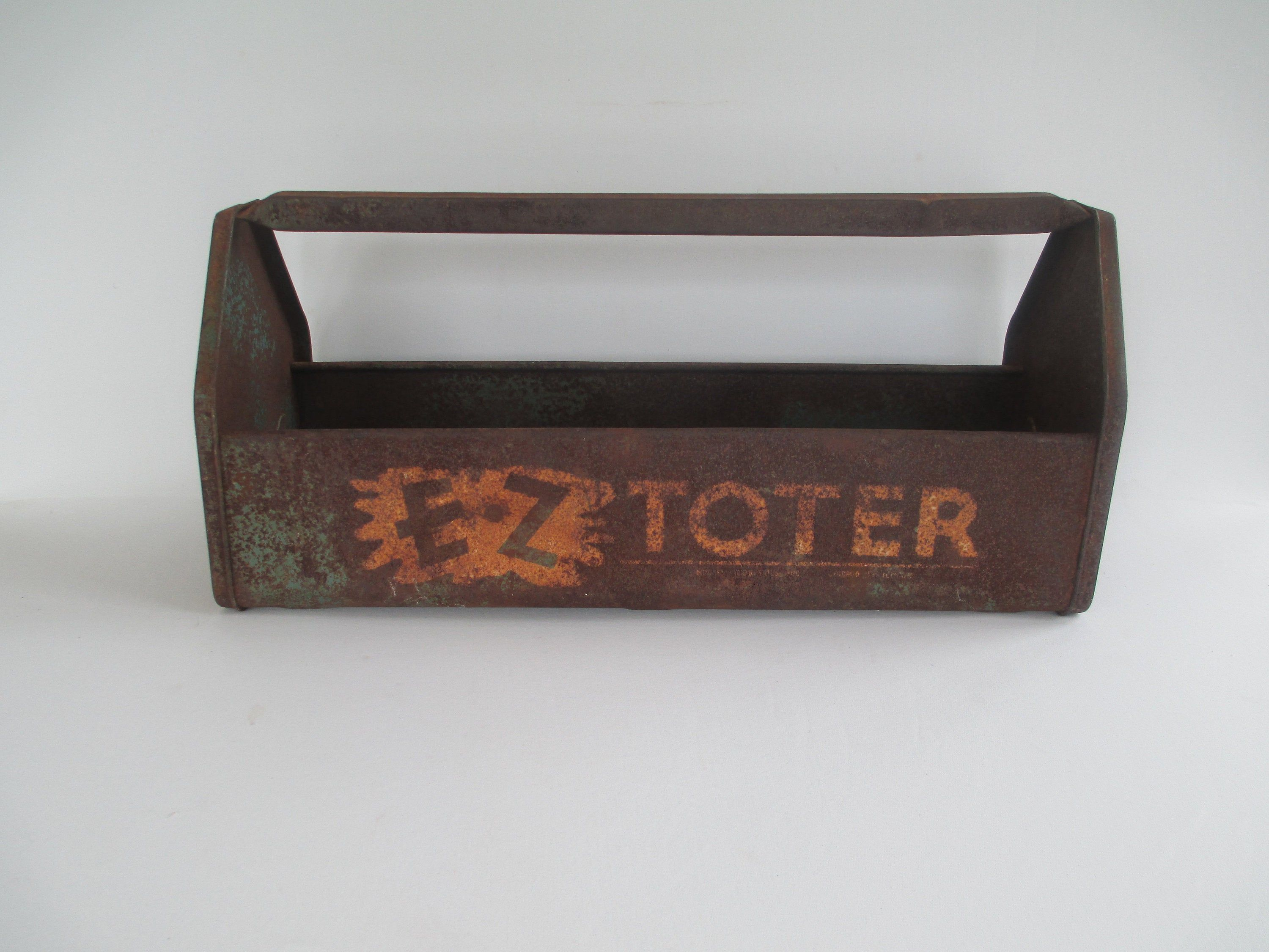 Vintage E Z Toter Garden Tool Carrier Rusty Metal Tote Use As A