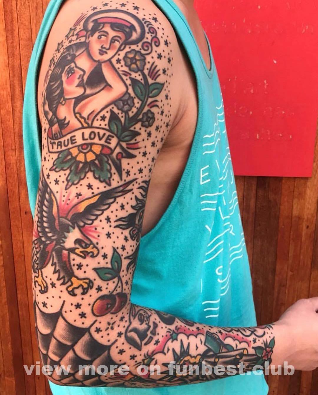 Tattoo By Needles Tattooi Traditional Tattoo Old School Tattoo Sleeve Traditional Tattoo Sleeve