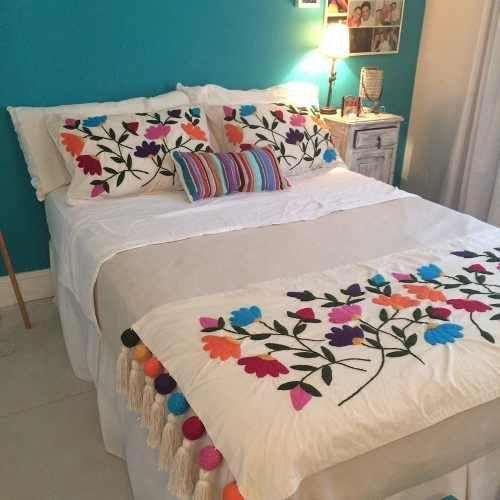 Kit para bordado mexicano pie de cama tama o king for Cubrepies de cama
