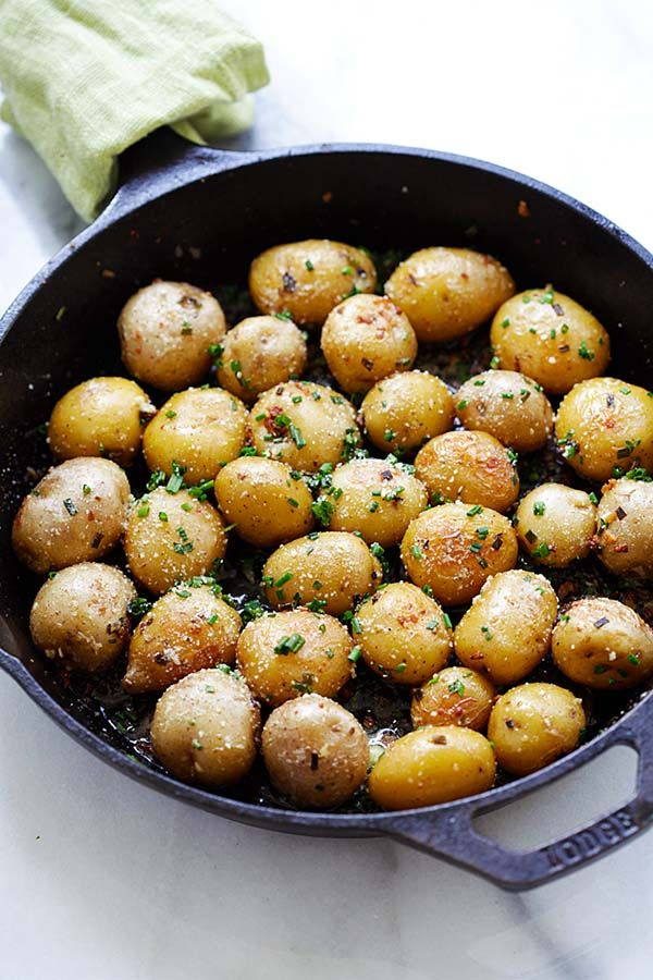Garlic Chive Butter Roasted Potatoes Roasted Baby Potatoes With Garlic Chives Butter And Parmesan Cheese The Only Roasted P Food Sweet Potato Soup Recipes