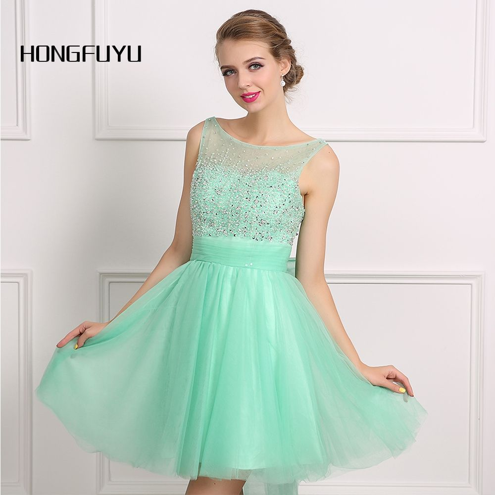Light Green Organza Ball Gown Beading Sleeveless Cocktail Party Dress  Backless Above Knee Mini Dresses 2016 a403a02babb2