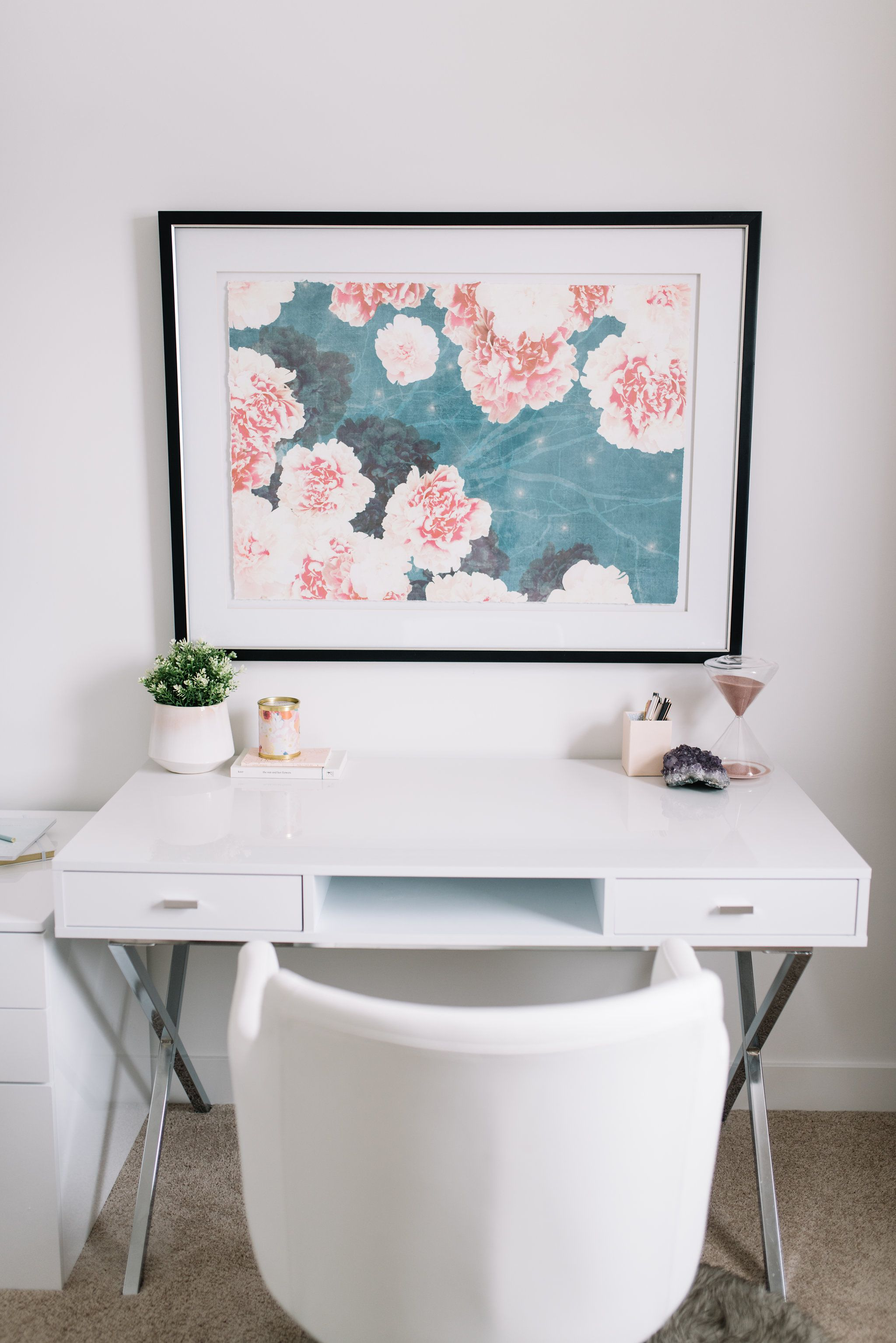 Catonia Computer Desk Glossy White In 2020 White Home Office