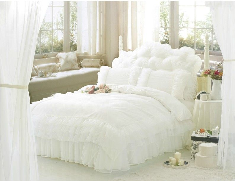 Free Shipping Luxury Snow White Lace Beautiful Bedding Sets Unique