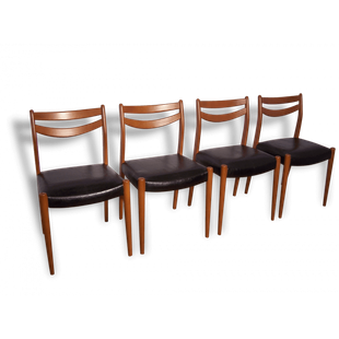Chaise Chaises Scandinave Danoise 1950 1960 Bois Noir Simili Cuir Skai Mobilier De Salon Mobilier Decoration Maison