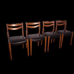 chaise,chaises,scandinave,danoise,1950,1960,bois,noir,simili,cuir ...