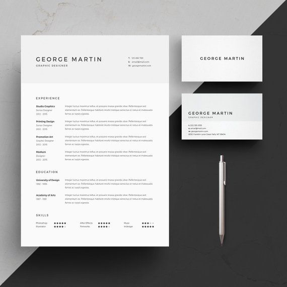 Resume Template 2 page CV Template + Cover Letter + Business Card