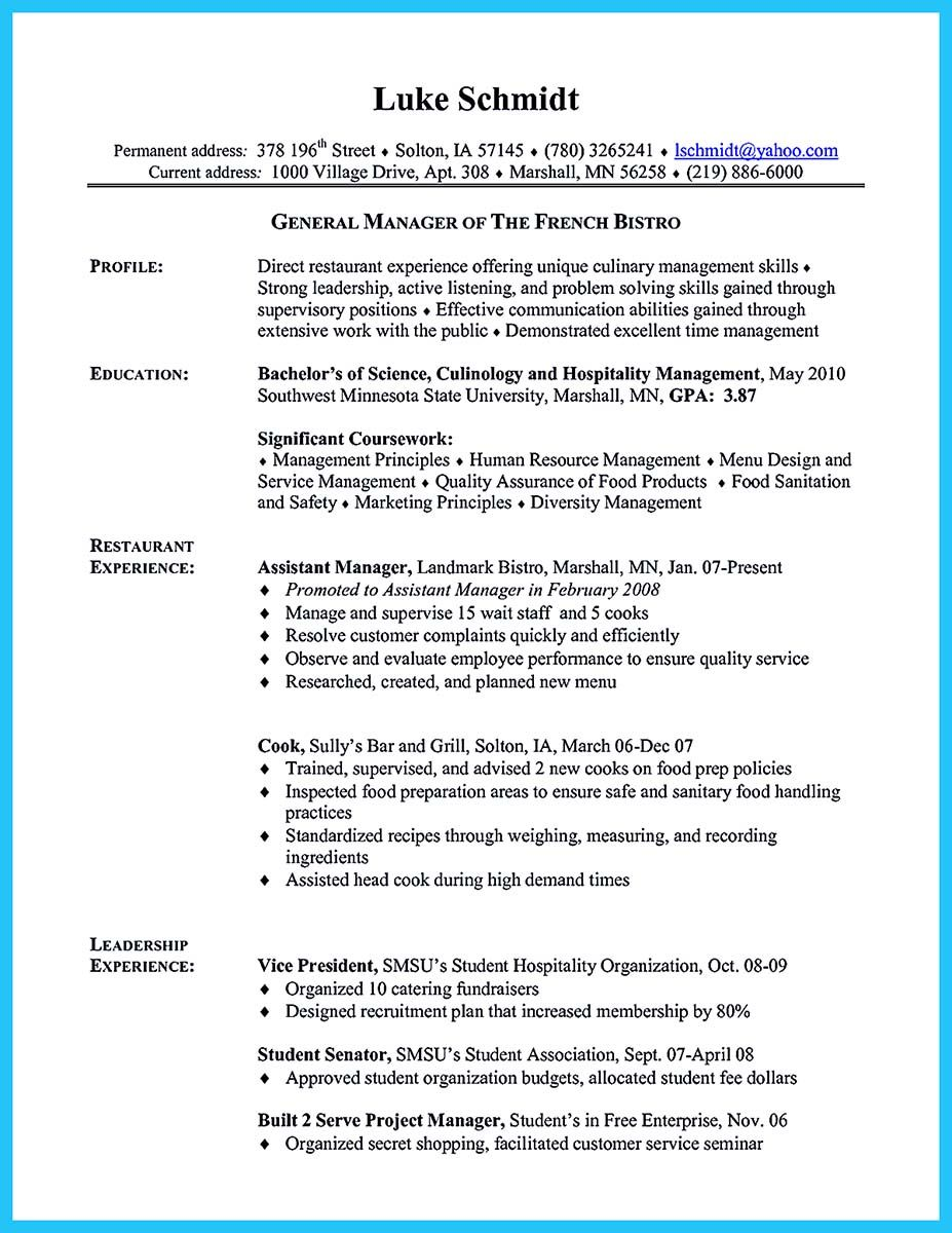 Excellent Culinary Resume Samples To Help You Approved Resume