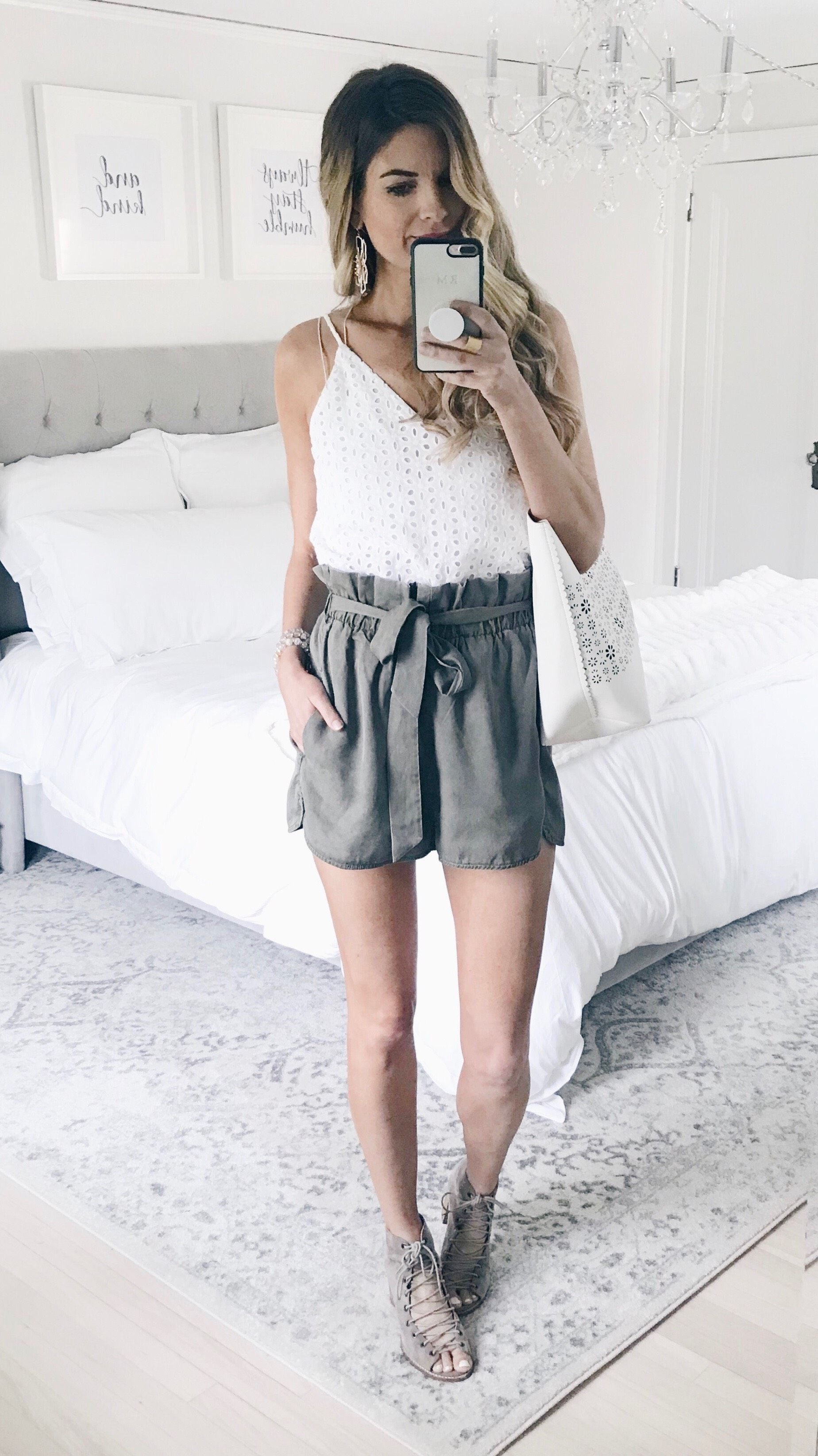 Three Reasons You Ll Love High Waisted Utility Shorts High Waisted Shorts Outfit Spring Outfits Casual Short Outfits