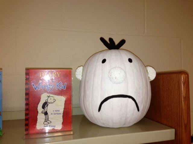 Greg Heffley Diary Of A Wimpy Kid Book Character Pumpkin Pumpkin Painting 2012 Pumpkin Books Book Character Pumpkins