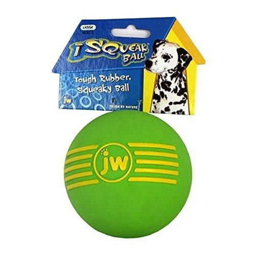 JW Pet Company iSqueak Ball Rubber Dog Toy Colors Vary Large 3 Pack
