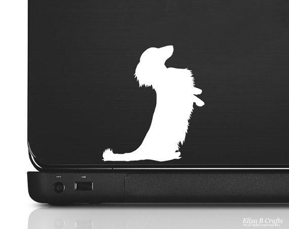 Dachshund Silhouette Longhaired Vinyl Sticker By Elizabcrafts
